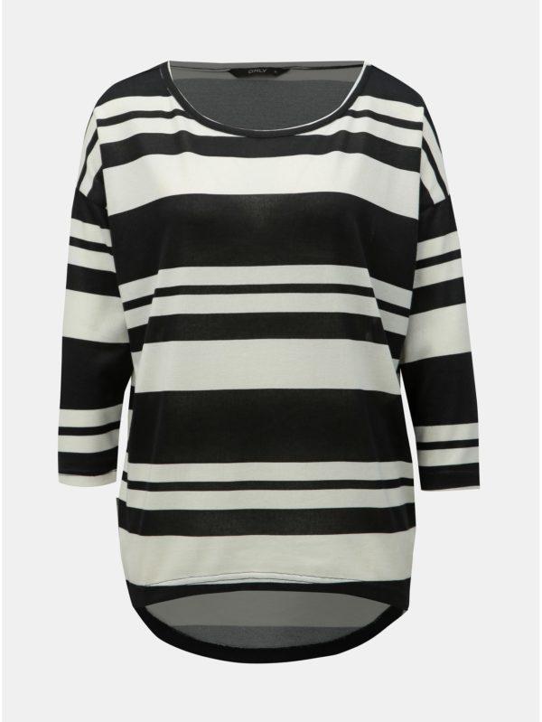 Bielo–čierne pruhované voľné tričko s 3/4 rukávom ONLY Elcos