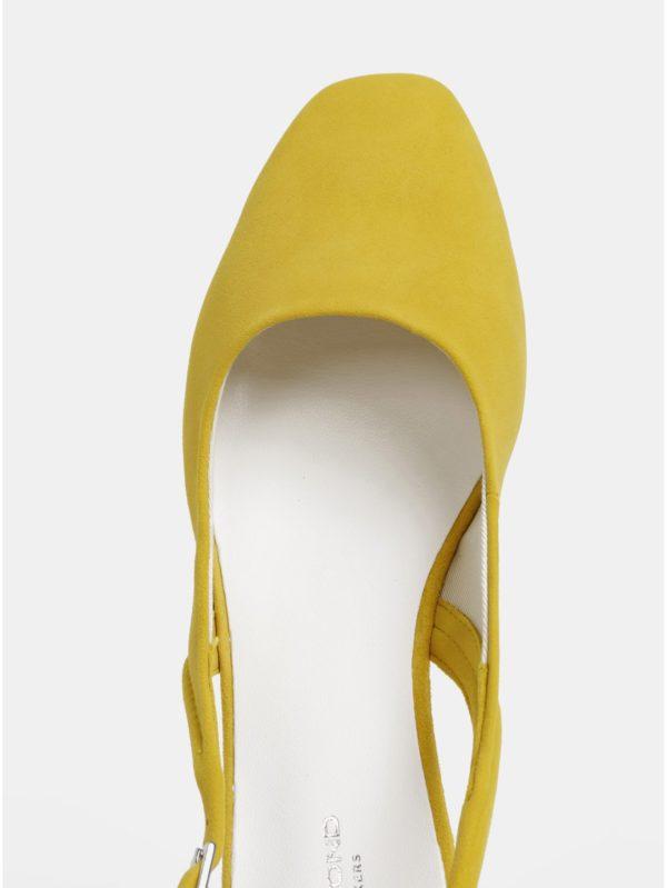 Žlté semišové baleríny s otvorenou pätou Vagabond Ayden