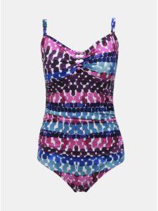 Fialové vzorované jednodielne plavky M&Co