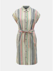 Ružovo–béžové pruhované košeľové šaty s prímesou ľanu M&Co