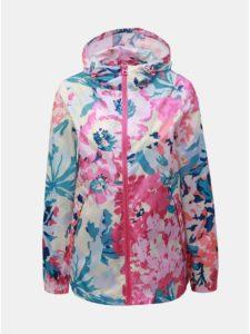 Ružovo–biela dámska kvetovaná nepremokavá tenká bunda Tom Joule