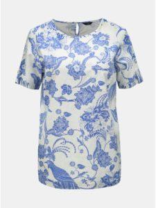 Modro–biela ľanová kvetovaná blúzka M&Co