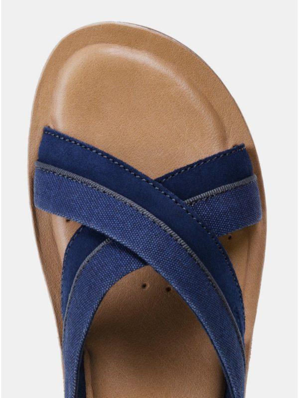 Modré pánske šľapky s koženou stielkou Geox Artie