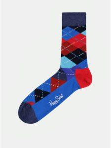 Červeno–modré vzorované ponožky Happy Socks Argyle