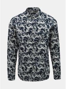 Tmavomodrá vzorovaná slim fit košeľa s prímesou ľanu Jack & Jones Summer Print