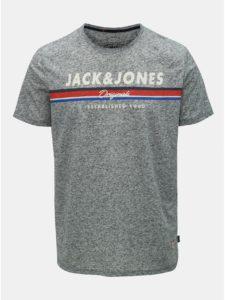 Sivé melírované regular fit tričko s prímesou ľanu Jack & Jones Tuco