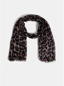 Hnedo–čierna šatka s leopardím vzorom Pieces Carrie