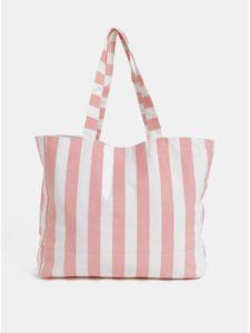 Bielo–ružová pruhovaná plážová taška Pieces Beth