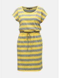 Sivo–žlté pruhované šaty s vreckami VERO MODA April