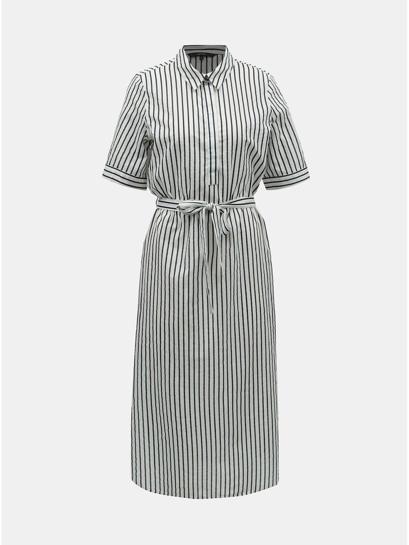 889ed88f34 Čierno–biele pruhované košeľové šaty VERO MODA Cassie