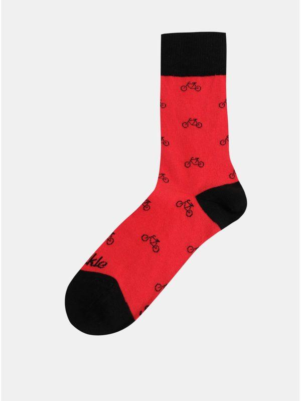 Červené vzorované ponožky Fusakle Cyklista červený