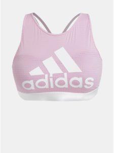 Ružová športová podprsenka s potlačou adidas Performance Halter