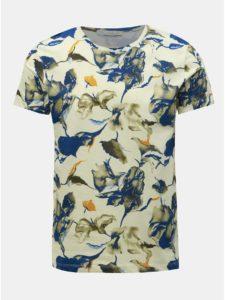 Modro–krémové vzorované tričko Selected Homme Aiden