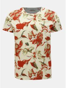 Červeno–krémové vzorované tričko Selected Homme Aiden