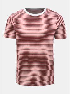 Červeno–biele pruhované basic tričko Selected Homme Perfect