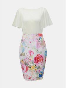 Bielo–ružové kvetované puzdrové šaty Dorothy Perkins