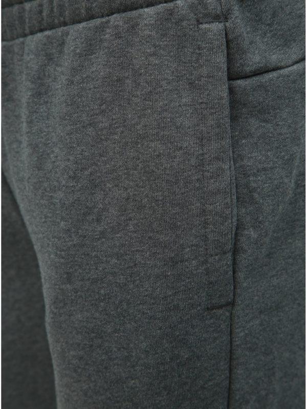 Sivé dámske melírované slim fit tepláky s potlačou adidas CORE