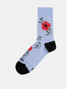 Svetlomodré dámske kvetované ponožky Fusakle Šípová ruža