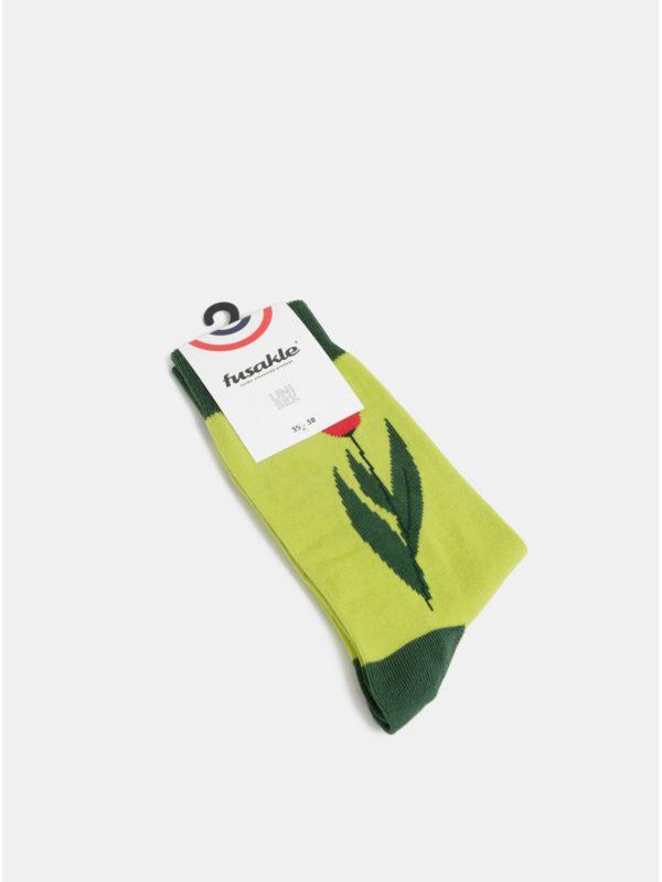 Svetlozelené dámske kvetované ponožky Fusakle Tulipán
