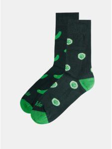 Tmavozelené vzorované ponožky Fusakle Šalátovka
