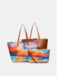 Hnedo–oranžový vzorovaný obojstranný shopper s puzdrom 2v1 Desigual Landscape Nimbus Capri