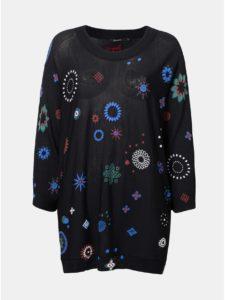 Čierny voľný sveter s potlačou Desigual Berna