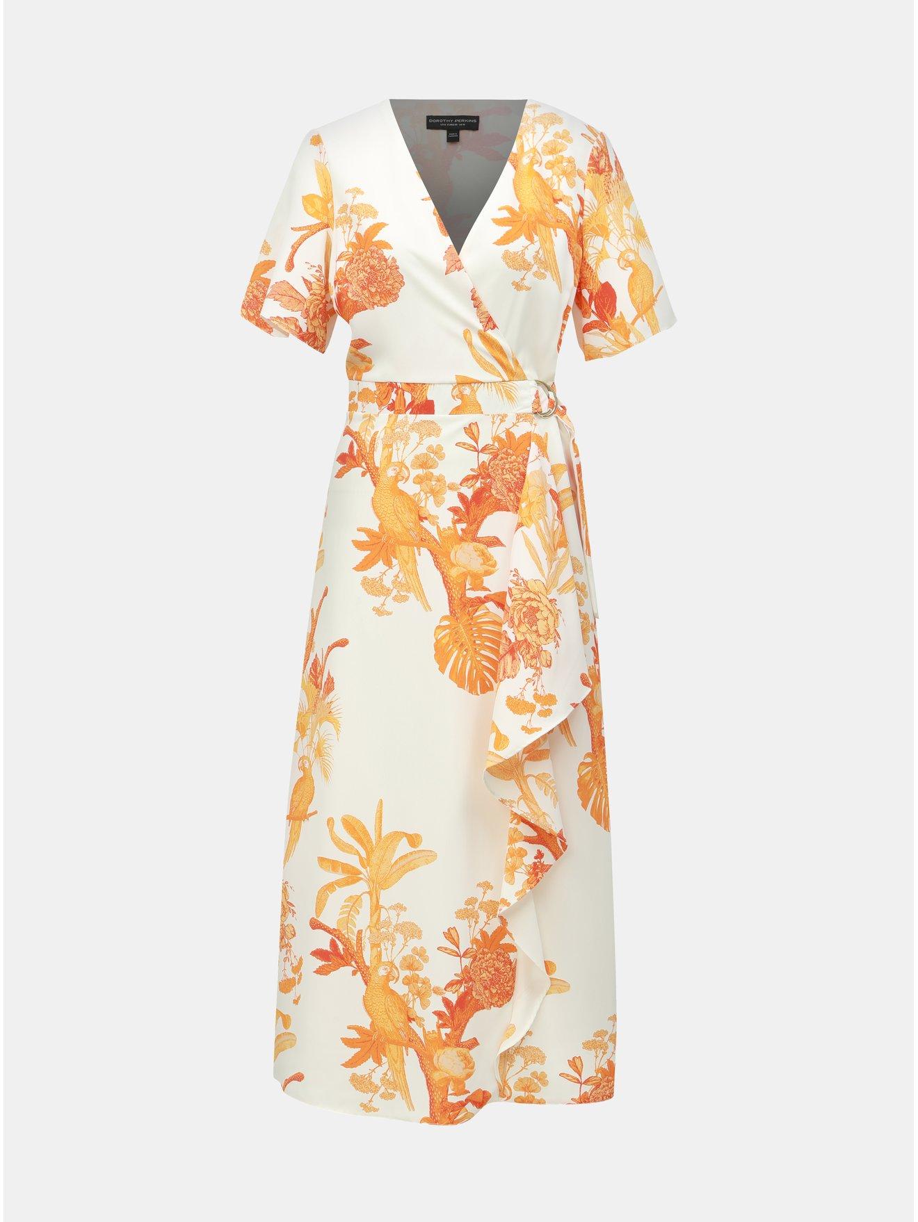 6675503eb476 Oranžovo–biele vzorované maxišaty s volánom Dorothy Perkins