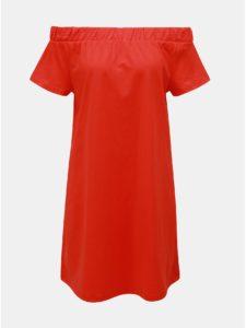 Červené šaty s odhalenými ramenami VERO MODA Alzia