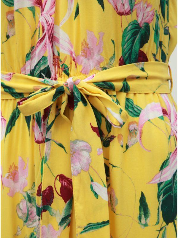 Žlté kvetované maxišaty na ramienka VERO MODA Simply Easy