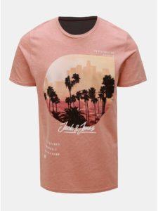 Ružové tričko s potiskem Jack & Jones Stuunt
