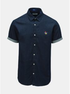 Tmavomodrá rifľová košeľa s výšivkou Jack & Jones Surf
