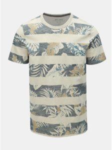 Modro–béžové vzorované tričko Jack & Jones Rise