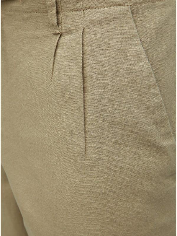 Béžové ľanové nohavice ONLY & SONS Leo