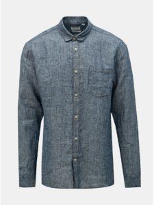 Modrá ľanová melírovaná slim fit košeľa ONLY & SONS Luke