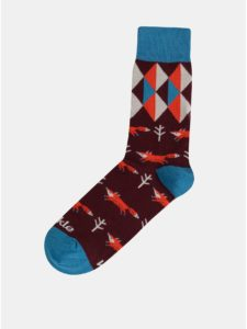 Vínové vzorované ponožky Fusakle Lisiak