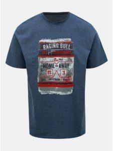 Tmavomodré tričko s potlačou Raging Bull