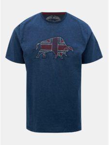 Tmavomodré tričko s nášivkou Raging Bull