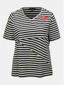 Bielo–čierne pruhované tričko s flitrami Ulla Popken