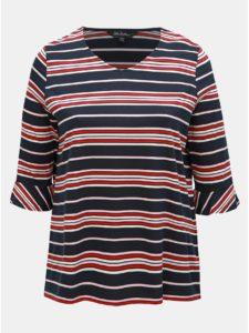 Červeno–modré pruhované tričko s volánmi Ulla Popken