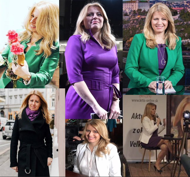 Ukážka obľúbených farieb outfitov prezidentky - fialová, zelená, biela