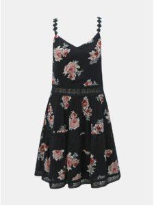 Čierne kvetované šaty na ramienka s čipkovanými detailmi ONLY Karmen Anne
