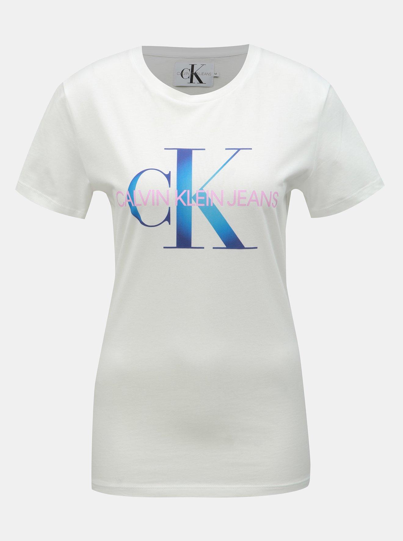 9f01fc4c7684 Biele dámske tričko s potlačou Calvin Klein Jeans