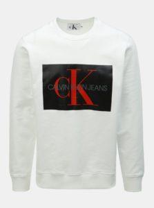 Biela pánska mikina s potlačou Calvin Klein Jeans
