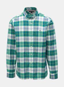 Bielo–zelená pánska kockovaná regular fit košeľa Tommy Hilfiger