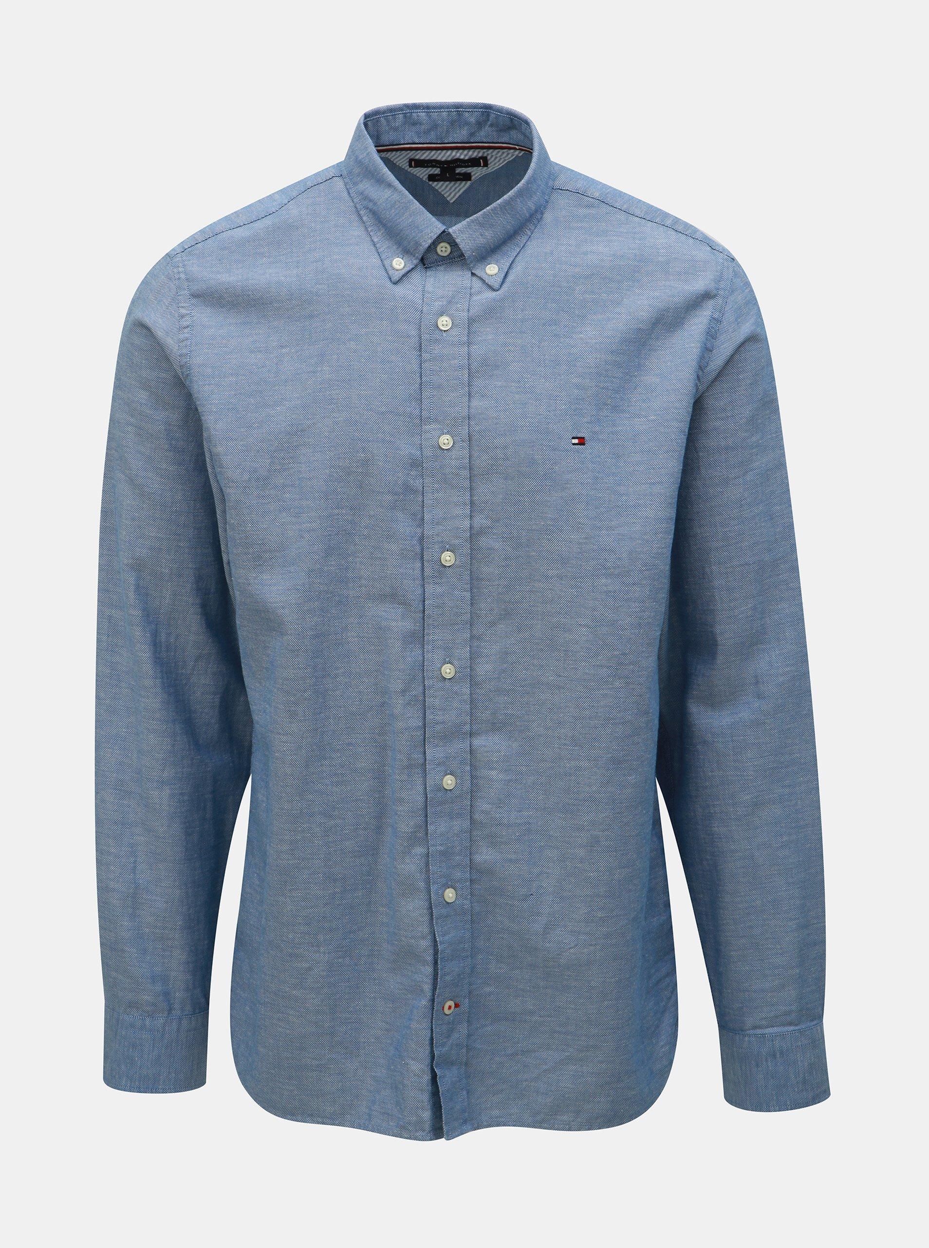 6f2a5857a4b1 Modrá pánska košeľa s prímesou ľanu Tommy Hilfiger