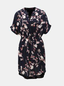 Tmavomodré kvetované šaty VERO MODA Amsterdam