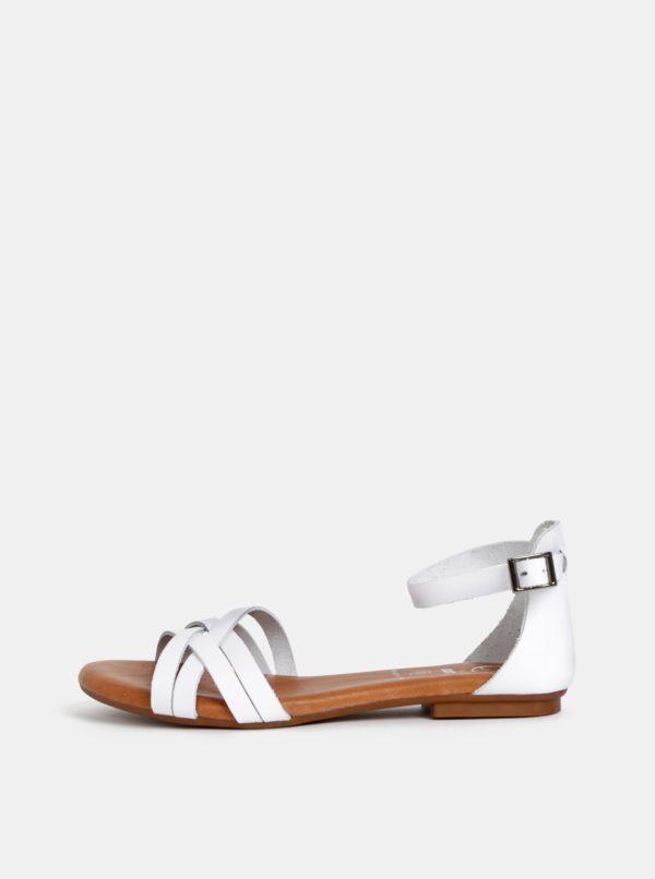 Biele kožené sandále OJJU