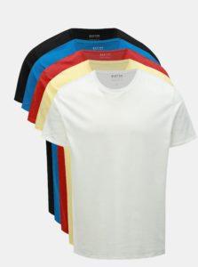 Balenie piatich farebných basic regular fit tričiek Burton Menswear London