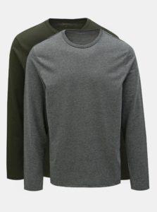 Balenie dvoch basic regular fit tričiek v sivej a tmavozelenej farbe Burton Menswear London