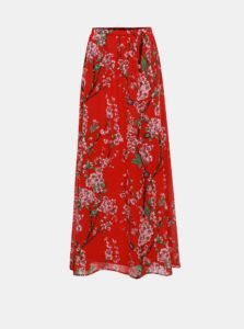 Červená kvetovaná maxisukňa VILA Esme
